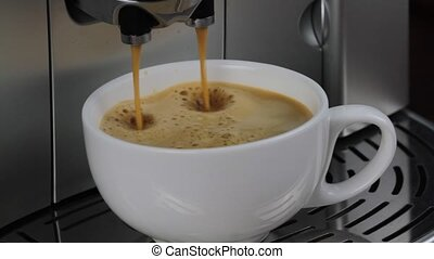 Coffee machine pouring espresso in cup macro image. ( 1080...