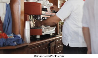 Coffee Machine - Very Busy Bar Staff In A Hotel Making...