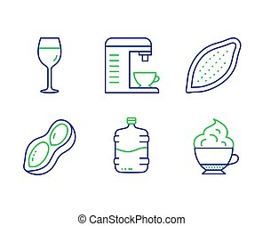 Coffee machine, Wine glass and Cooler bottle icons set....