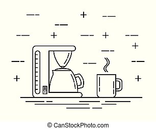 Coffee Machine with a Cup or Mug Flat Thine Line Art