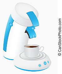 coffee maker and a mug full of coffee.
