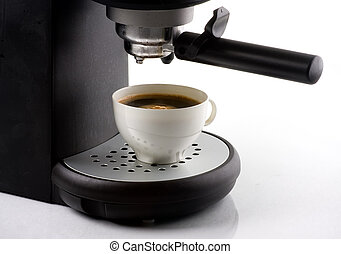 Coffee maker - Domestic coffee maker with cup isolated on...