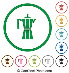 Coffee maker flat color icons in round outlines on white background