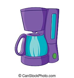 Coffee maker icon, cartoon style