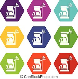 Coffee maker icons set 9 vector