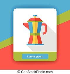 coffee maker kettle flat icon