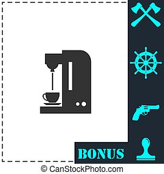 Coffee maker machine flat icon