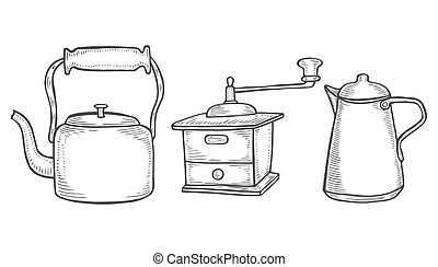 Coffee maker or grinder, Chinese teapot or kettle. Chef and...