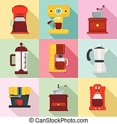 Coffee maker pot espresso icons set, flat style
