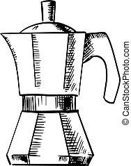 Coffee maker pot sketch icon