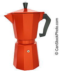 Coffee maker - Red coffee maker isolated on white...