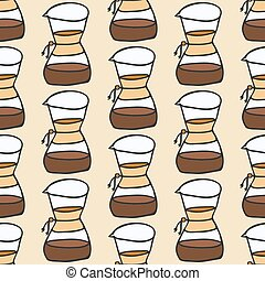 Coffee maker.  Seamless pattern with doodle drip or chemex. Hand-drawn background. Vector illustration.