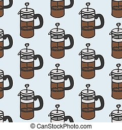 Coffee maker. Seamless pattern with doodle french press. Hand-drawn background. Vector illustration.