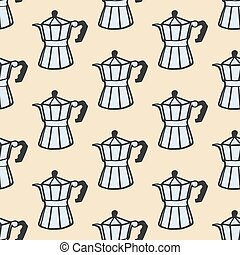 Coffee maker. Seamless pattern with doodle moka pot. Hand-drawn background. Vector illustration.