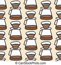 Coffee maker. Seamless pattern with doodle pour over. Hand-drawn background. Vector illustration.