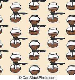 Coffee maker. Seamless pattern with doodle vacuum. Hand-drawn background. Vector illustration.