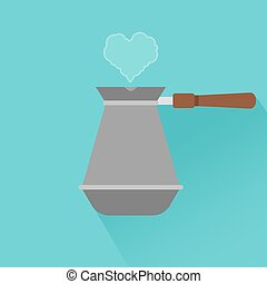 Coffee maker with shadow and heart