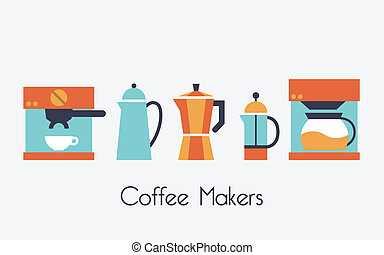 Coffee makers - Coffee Maker, coffee icon set vector