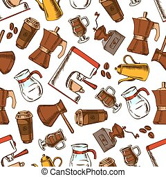 Coffee makers seamless pattern background
