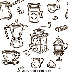 Coffee makers vector sketch retro pattern