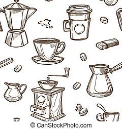 Coffee makers vector sketch retro pattern - Coffee sketch...