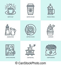 Coffee making, brewing equipment vector line icons. Elements...