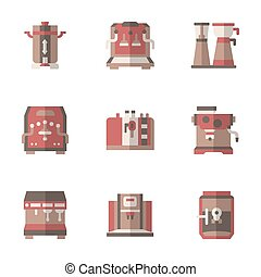 Coffee making equipment flat simple vector icons