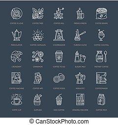 Coffee making equipment vector line icons. Tools - moka pot,...