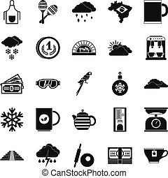 Coffee making icons set, simple style