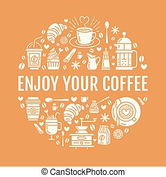 Coffee making poster template. Brewing vector line icon,...