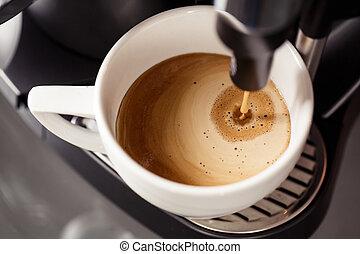 Coffee making with espresso machine - Close up coffee making...