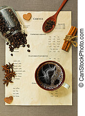 Coffee menu, cup with espressoo coffee, spices and other ingredients on the rude tablecloth