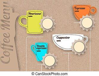 Coffee menu on craft paper background