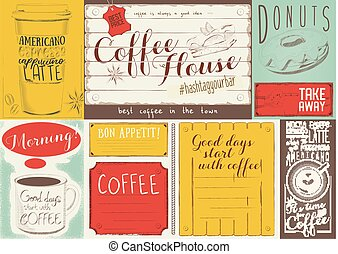 Coffee Menu Placemat Design. Colorful Template for Coffee...