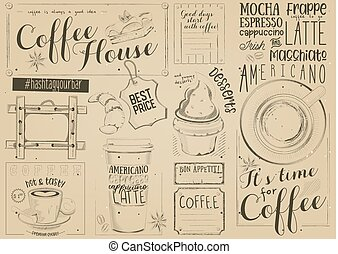 Coffee Menu Placemat Design. Template for Coffee Shop and...