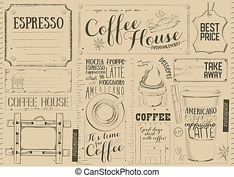 Coffee Menu Placemat Design. Template for Coffee Shop,...