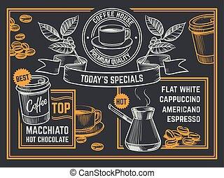 Coffee menu. Vintage hand drawn coffeeshop flyer. Cappuccino...