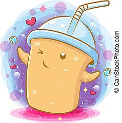 Coffee milk kawaii cartoon character