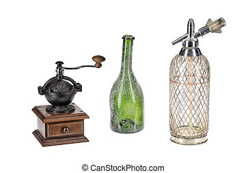 Coffee Mill, Green Bottle And Glass Siphon