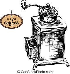Coffee mill. Hand drawn illustration.