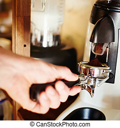 Coffee mill machine making espresso