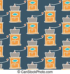 Coffee mill. Seamless pattern with doodle hand grinder. Hand-drawn background. Vector illustration.