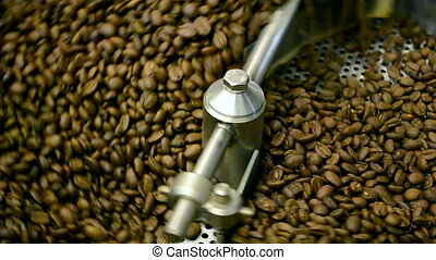 coffee mixer machine closeup, modern food industry - coffee...