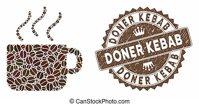 Mosaic coffee and rubber stamp watermark with Doner Kebab text. Mosaic vector coffee is composed with beans. Doner Kebab stamp uses brown color.