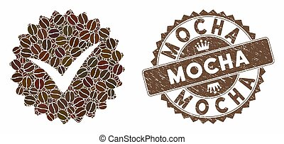 Coffee Mosaic Quality with Grunge Mocha Stamp - Mosaic...