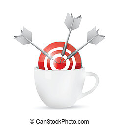 coffee mug and bullseye target
