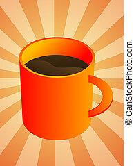 Coffee mug - Ceramic coffee mug with brown beverage,...