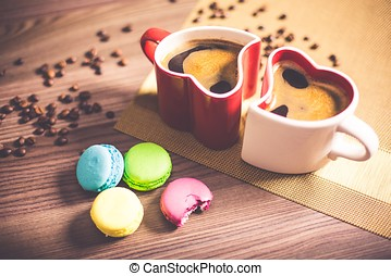 coffee mug cup chocolate hot drink cafe breakfast macaroons heart love valentines day couple
