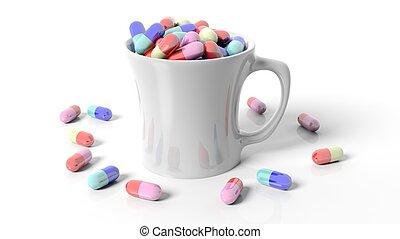 Coffee mug full of pills,isolated on white background.