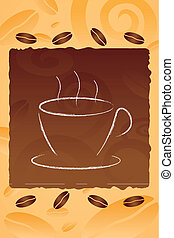 illustration of vector coffee mug on abstract background with coffee beans
